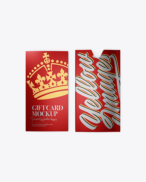 Textured Metallic Gift Card w/ Card Holder Mockup