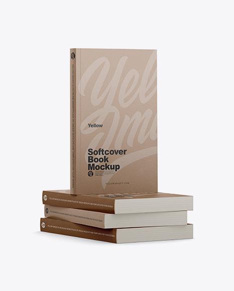 4 Kraft Softcover Books Mockup - Half Side View