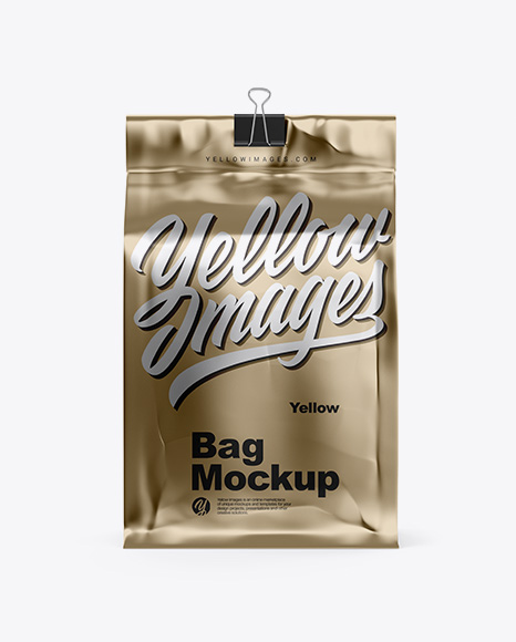 Metallic Coffee Bag With Clip Mockup - Front View