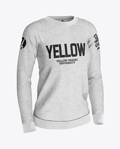 5b26d24adc5f7 Women's Melange Sweatshirt Mockup - Half Side View templates
