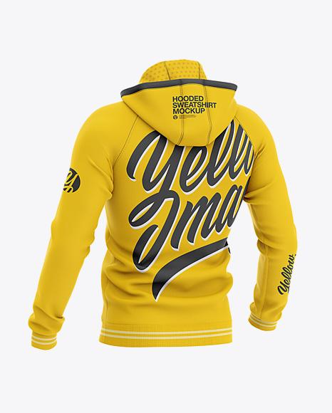 Men's Hooded Sweatshirt Mockup - Back Half Side View