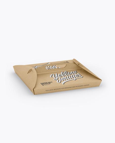 Kraft Paper Box with Handle Mockup - Half Side View
