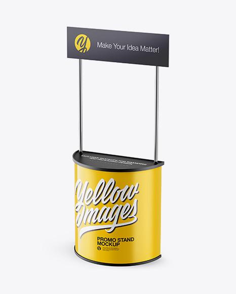 Promo Stand Mockup - Half Side View (High Angle Shot)