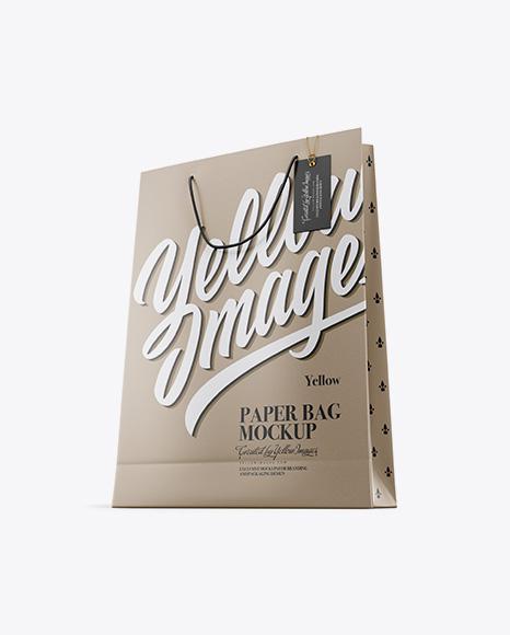 Karft Paper Bag w/ Label Mockup - Half Side View