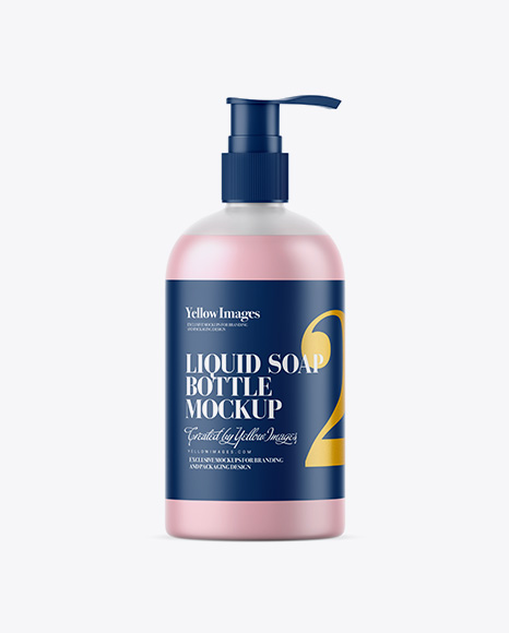 Frosted Bottle with Liquid Soap Mockup