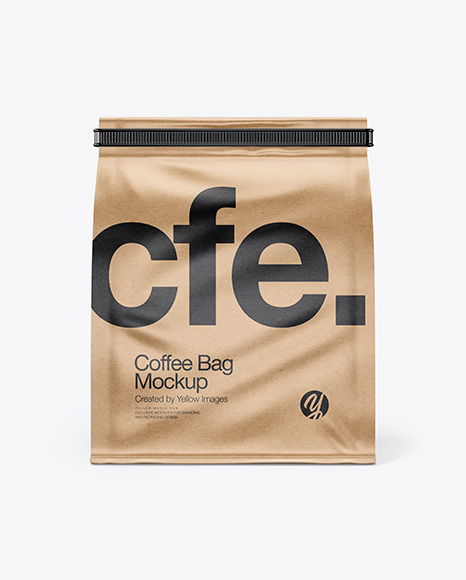 Kraft Paper Coffee Bag With Tin-Tie Mockup
