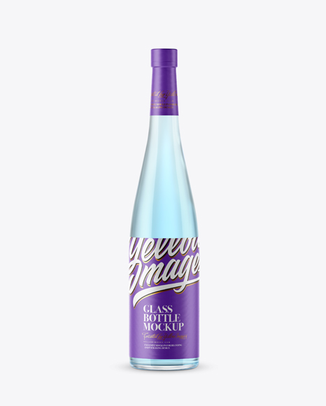 Clear Glass Bottle with Blue Gin Mockup