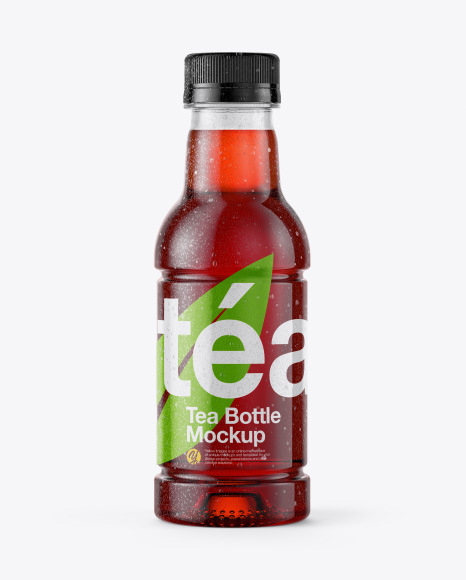 Tea Bottle with Condensation in Shrink Sleeve Mockup - Front View