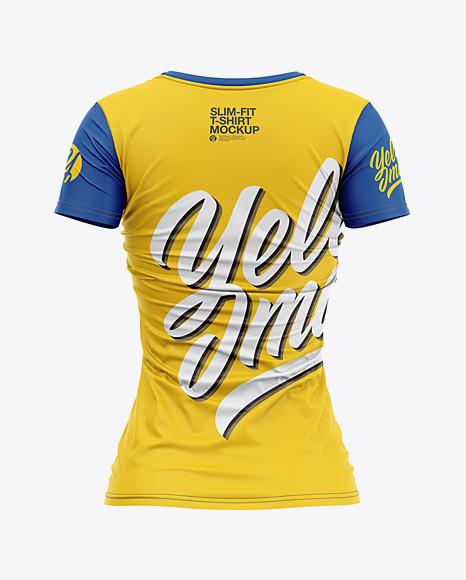 Women's Slim-Fit V-Neck T-Shirt Mockup - Back View