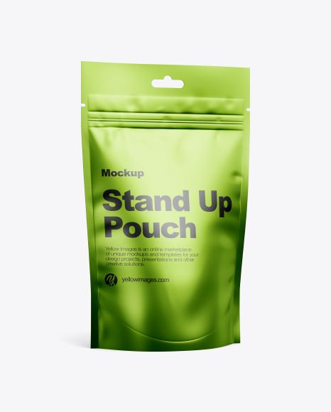 Metallic Stand-Up Pouch w/ Zipper Mockup - Half Side View