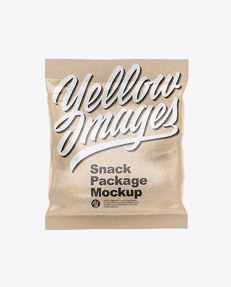 Kraft Snack Bag Mockup - Front View
