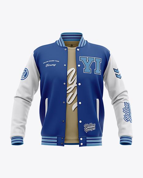 Mens varsity jacket mockup back view Download Open Varsity Jacket Mockup Front View Object Mockups
