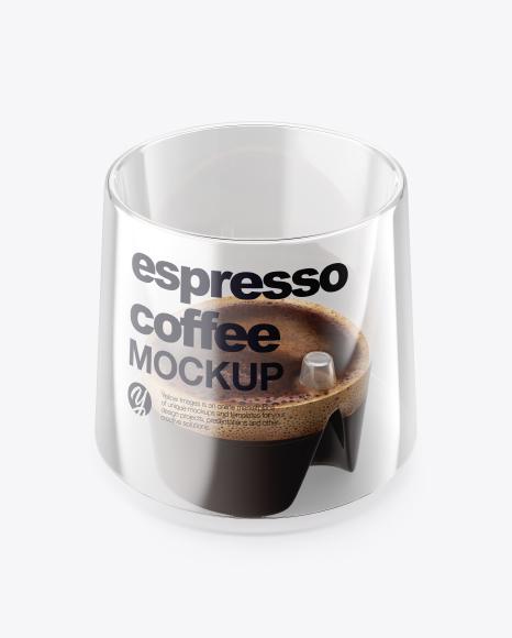 Espresso Doppio Coffee Cup with Cinnamon Mockup - High-Angle Shot & Top View