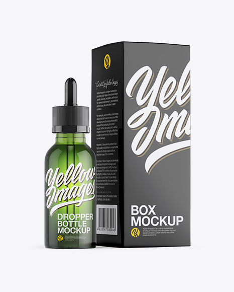Green Glass Dropper Bottle W/ Glossy Paper Box Mockup