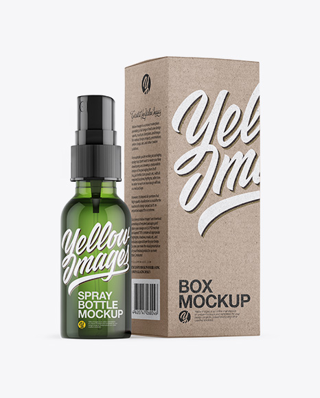 Green Spray Bottle W/ Kraft Paper Box Mockup