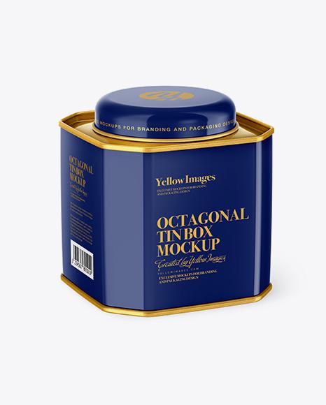 Glossy Octagonal Tin Box Mockup - Half Side View (High-Angle Shot)