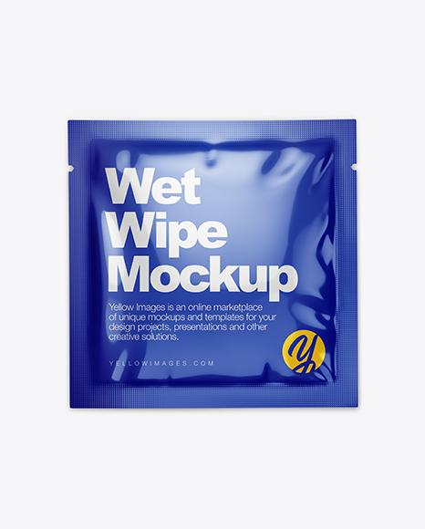 Glossy Wet Wipe Pack Mockup - Top View