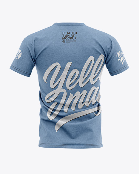 Men's Heather T-shirt Mockup - Back View
