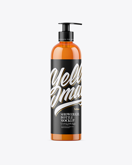 Orange Shower Gel Bottle with Pump Mockup