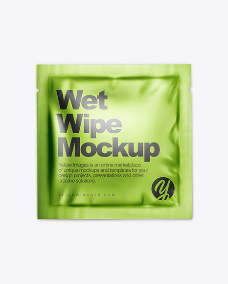 Metallic Wet Wipe Pack Mockup - Top View