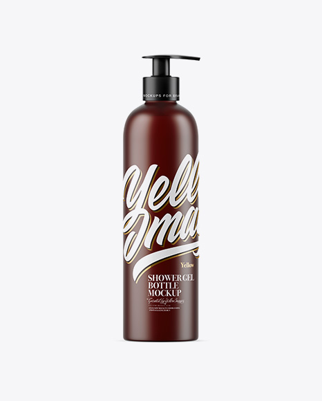 Frosted Amber Shower Gel Bottle with Pump Mockup