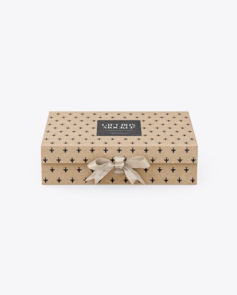 Kraft Gift Box With Bow Mockup - Front View (High-Angle Shot)