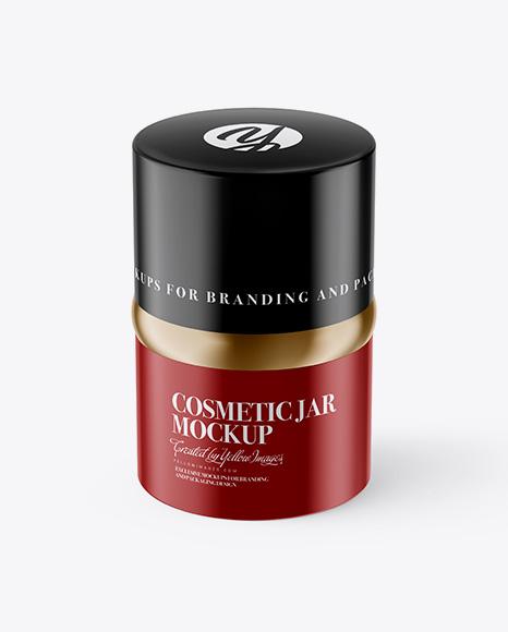 20ml Glossy Cosmetic Jar Mockup (High-Angle Shot)