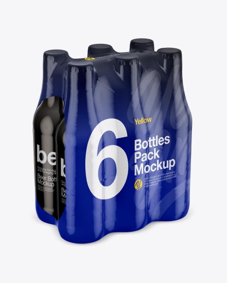 6 Bottles Pack Mockup - Half Side View (High-Angle Shot)