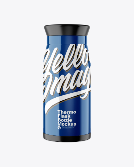 Glossy Thermo Flask Bottle Mockup