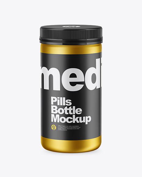 Matte Metallic Pills Bottle Mockup - High-Angle Shot
