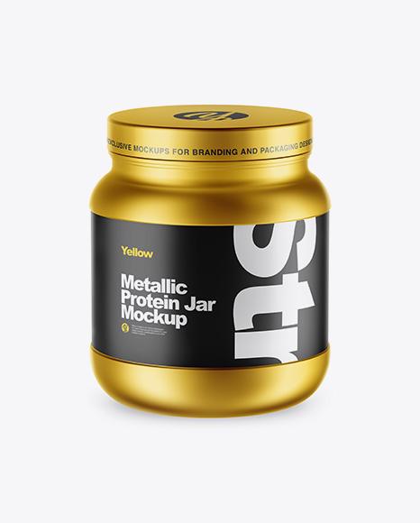 Matte Metallic Protein Jar Mockup - High-Angle Shot