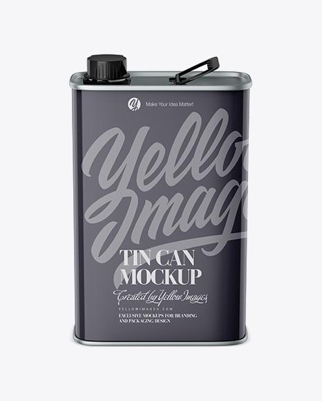 Glossy Tin Can Mockup - Front View (High-Angle Shot)