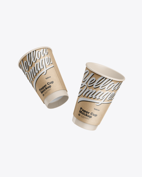 Two Kraft Coffee Cups Mockup