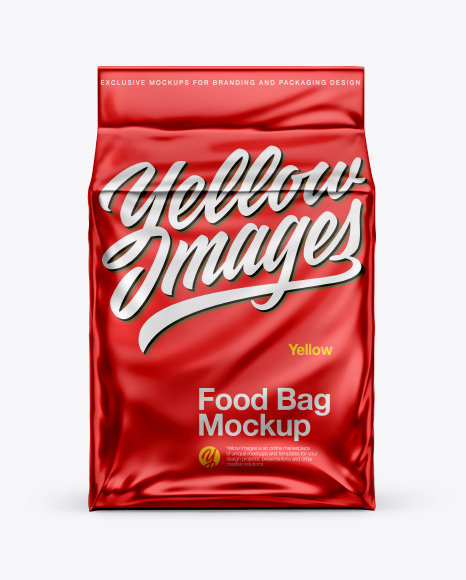 Metallic Stand-up Food Bag Mockup - Front View