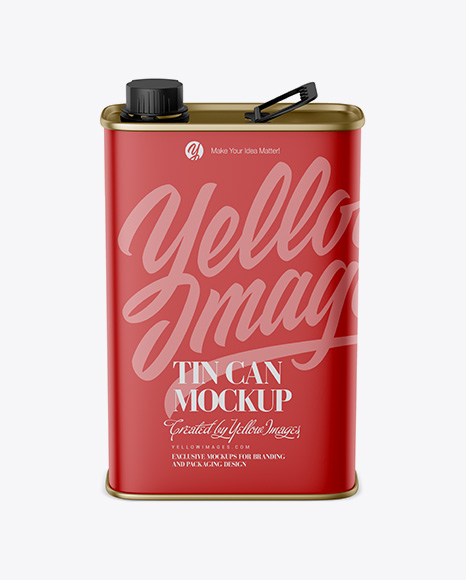 Matte Tin Can Mockup - Front View (High-Angle Shot)