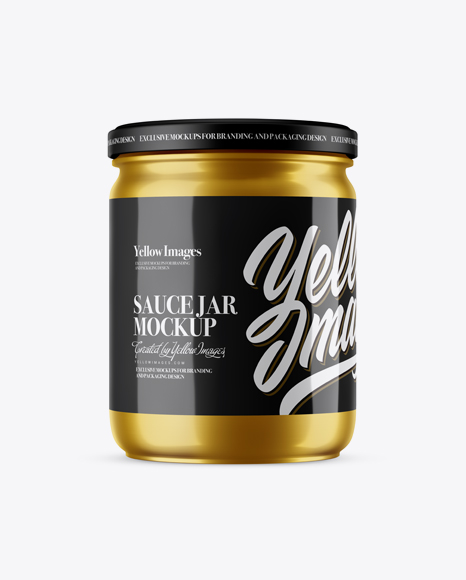 Metallic Sauce Jar Mockup