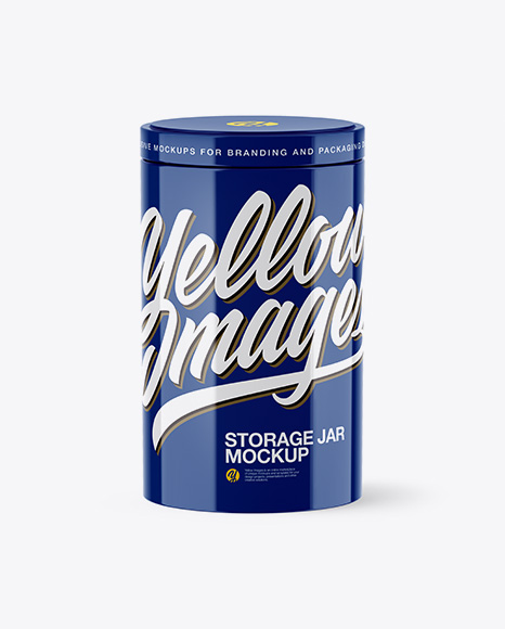 Glossy Storage Jar Mockup - High-Angle Shot