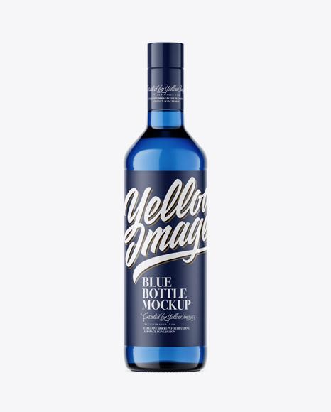 500ml Blue Glass Bottle Mockup