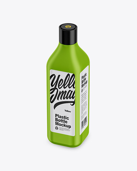Matte Square Bottle Mockup - Half Side View