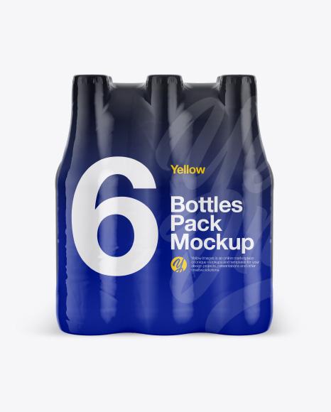 6 Bottles Pack Mockup - Front View