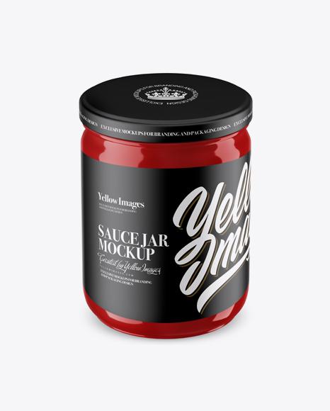 Glossy Sauce Jar Mockup (High Angle Shot)