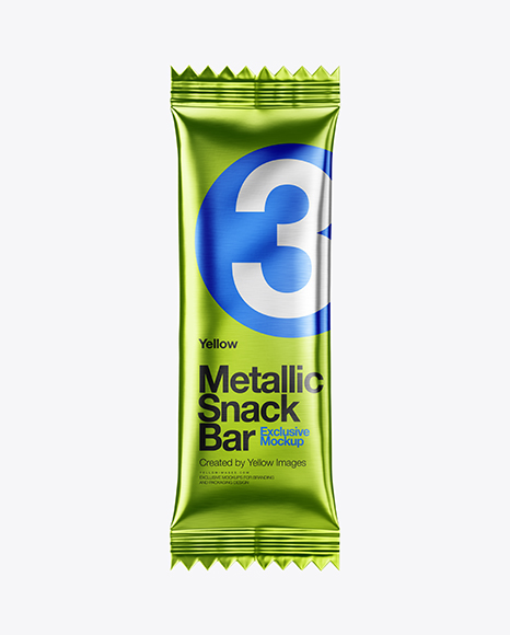 Metallic Snack Bar Mockup - Front View