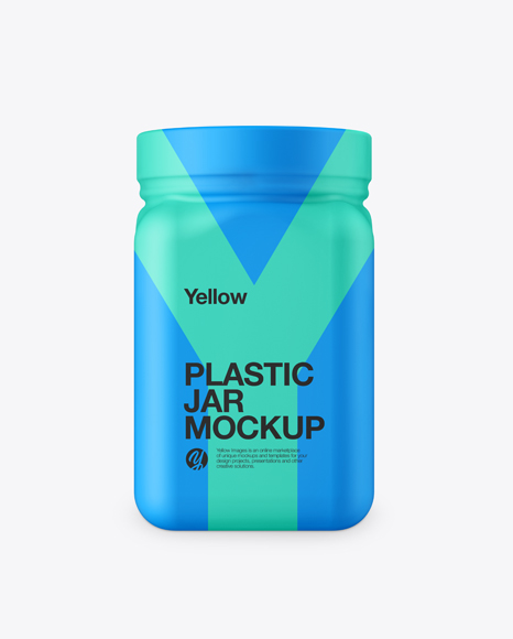 Plastic Jar in Matte Shrink Sleeve Mockup - Front View