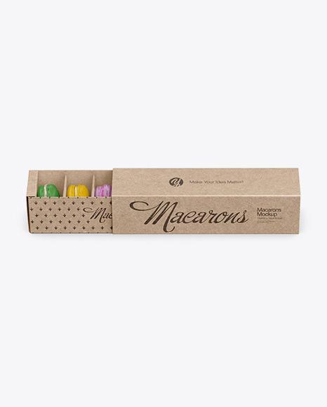 Opened Kraft Paper Box With Macarons Mockup - High-Angle Shot