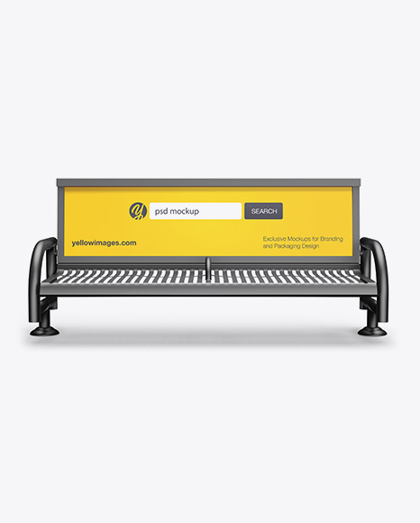 Street Bench Advertising Mockup - Front View