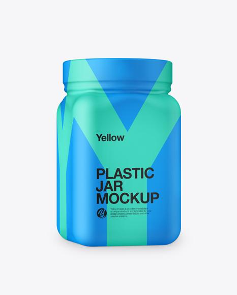 Plastic Jar in Matte Shrink Sleeve Mockup - Half Side View