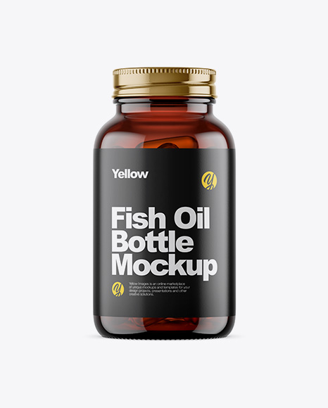 Amber Glass Fish Oil Bottle Mockup