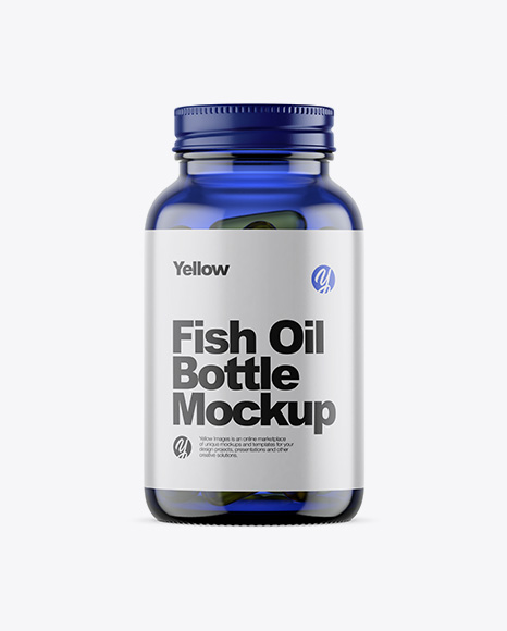 Blue Glass Fish Oil Bottle Mockup