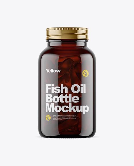 Dark Amber Glass Fish Oil Bottle Mockup