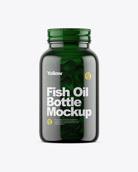 Dark Green Glass Fish Oil Bottle Mockup